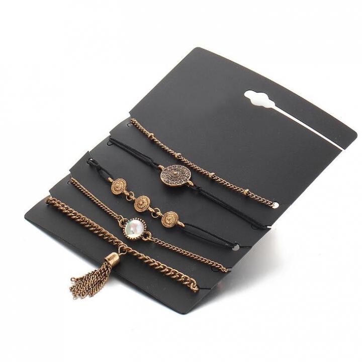 HN-5 Piece/Set New Lovers Fashion diamond Bracelets Bangles Women Jewellery gold as picture