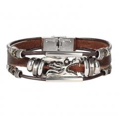 HN-1 Piece/Set New Faucet multilayer leather Alloy Bracelets Bangles Women Men Jewellery Brown as picture