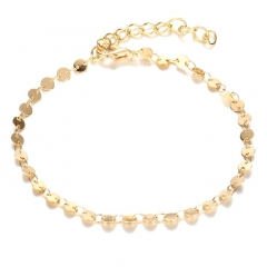 HN-1 Piece/Set New Bohemia Retro alloy round Sequin Anklet Bracelets Bangles Women Men Jewellery gold as picture