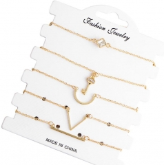 HN-5 Piece/Set New Fashion temperament brief V key Diamonds Anklet Bracelets Bangles Women Jewellery gold as picture