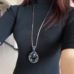 HN-1 piece/Set New Fashion Love of water drop crystal temperament Necklace Pendant Women Jewellery Blue as picture
