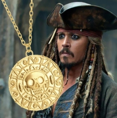 HN-1 piece/Set New Fashion Pirates of the Caribbean Aztec Gold Skull Necklace Pendant men Jewellery gold as picture