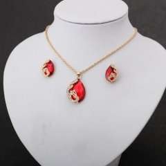 HN-3 piece/Set New Fashion Beautiful peacock Crystal Stud Earrings Necklace Pendant Women Jewellery Red as picture