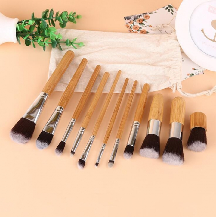 HN-11 piece/Set New Primary bamboo handle with beige linen bag cosmetic brush Women Makeup tools As Picture
