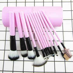 HN-12 piece/Set New Fashion Classic full set Cosmetic brush  Women Beauty Makeup tools Bags Gifts Light pink