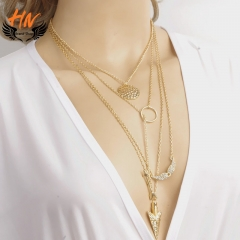 HN Brand 1Pcs/Set New Beautiful wings arrow hanging multi layer Women Necklace Valentines Gift gold chain length:66cm