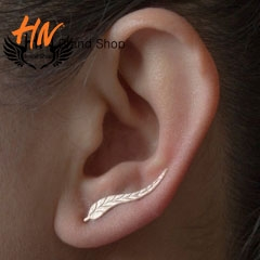 HN Brand 1 pair/Set New Beautiful Hot Long Metal tree leaves stud earrings Women Jewellery gold 0.4cm*2.5cm