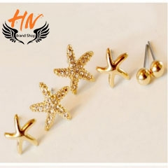 HN Brand 3 piece/Set New Beads Starfish flowers stud earring For Women Jewellery Valentines Gift gold 0.8cm