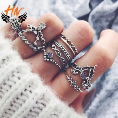 HN Brand 10 piece New Fashion Individual love Alloy Crystal Wedding Ring Women Men Jewellery Gift silver as picture