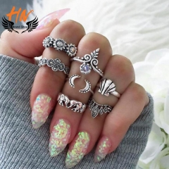 HN Brand 7 piecet New Sunflower shell elephant Alloy Crystal Wedding Ring Women Men Jewellery Gift silver as picture