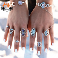 HN Brand 8piece New Fashion Individual Blue love Alloy Crystal Wedding Ring Women Men Jewellery Gift silver as picture