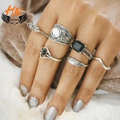 HN Brand 6piece New Fashion Black Individual love  Crystal Wedding Ring Women Men Jewellery Gift silver as picture
