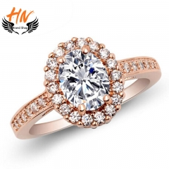 HN Brand1 piece New Fashion Real Gold  Round Crystal luxury 18Kdiamond Wedding Rings Women Men Gift gold 7