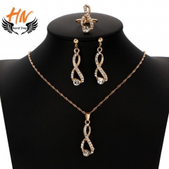 HN Brand 4 piece/Set New Fashion Earrings Necklaces Crystal Wedding Ring Women Men Jewellery Gift gold as picture