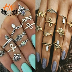 HN Brand10 piece/Set New Fashion Sale Turtle starfish Crystal Wedding Ring Women Men Jewellery Gift gold as picture