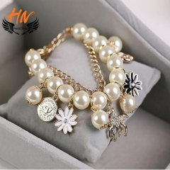 HN Brand 1 Piece/Set New Metal Pearl multilayer Bracelets Bangles Women Jewellery gold as picture