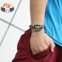 HN Brand 1 set New Metal Exaggerated national wind eyes multilayer Bracelets Bangles Women Jewellery brown as picture