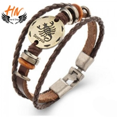 HN Brand 1 Piece New Fashion 12 constellation Woven leather Bracelets Bangles Men Women Jewellery Scorpio as picture