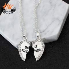 HN Brand 1 pair/Set New Beautiful Fashion best friends Heart Pendant pendant alloy Diamond necklace silver perimeter:46cm