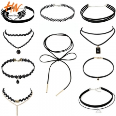 HN Brand 10Pcs/Set Women Choker Necklace Combination Suit Lace Woman Jewellery as picture one size