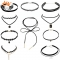HN Brand 10piece New Gothic Tattoo Leather Choker Necklaces for Women Lace Jewellery Valentines Gift black one size