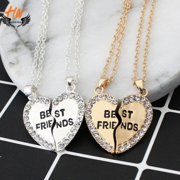 HN Brand 1 pair/Set New Beautiful Fashion best friends Heart Pendant pendant alloy Diamond necklace gold perimeter:46cm