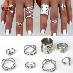 HN Brand 8 piece/Set New Beautiful Bohemia metal Arrow cylinder Rings Women Jewellery Christmas Gift silver one size