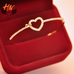 HN Brand 1pcs New Fashion Bow the heart of love Diamond Metal Bracelets Bangles Women Jewellery Gift gold as picture