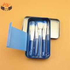 HN Brand 7set New Fashion Mini Nylon wire Cat Boxed iron brush Women Beauty Makeup tools Bags Gifts Blue