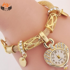 HN Brand 1Pcs/Set New Ladies Bracelet Watches Heart Bracelet Watch For Women Jewellery Gift Gold