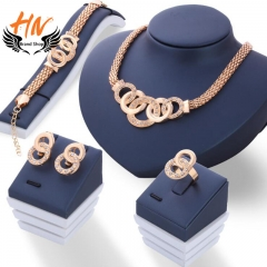 HN Brand 5 piece New alloy Necklace Pendant Earring Studs Bracelet Wedding Rings Women Men Jewellery gold As Picture