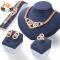 HN Brand 5 piece New alloy Necklace Pendant Earring Studs Bracelet Wedding Rings Women Men Jewellery gold As Picture