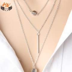 HN Brand 1Pcs/Set New Beautiful Fashion Simple 3 layer Necklace Dot exquisite metal bar pendant silver chain length:50cm