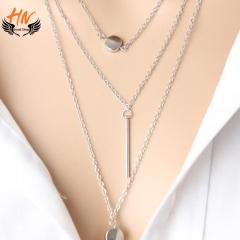 HN Brand 1Pcs/Set New Beautiful Fashion Simple 3 layer Necklace Dot exquisite metal bar pendant silver chain length:50cm