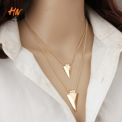 HN Brand 1Pcs/Set New Beautiful Multi layer triangle Metal Necklace Pendant For Women Jewellery gold chain length:52cm