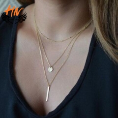 HN Brand 1 Piece/Set New 3 layer sequins Alloy Necklaces Pendant Women And Men Jewellery Gift gold as picture