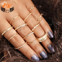 HN Brand 12 piece New Fashion Carved Alloy Crystal diamond Wedding Rings Women Men Jewellery Gift gold as picture