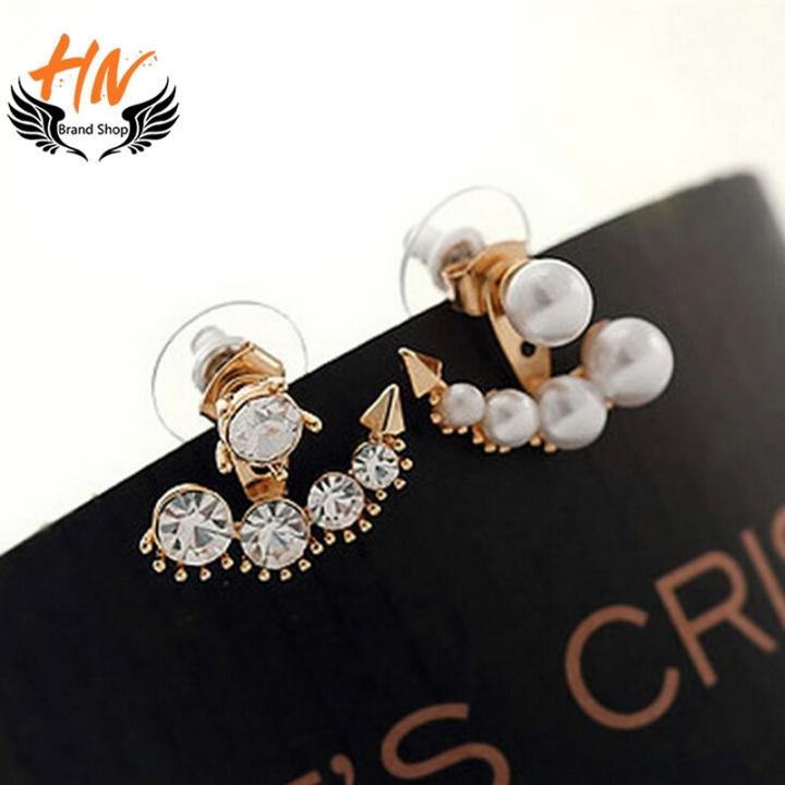 HN Brand 1 pair/Set New Diamond pearl earrings For Women Jewellery Valentines Gift gold 2.1cm*1.9cm