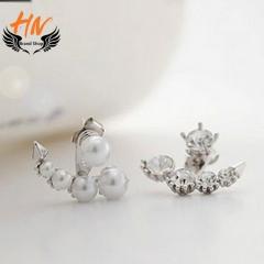 HN Brand 1 pair/Set New Diamond pearl earrings For Women Jewellery Gift silver 2.1cm*1.9cm
