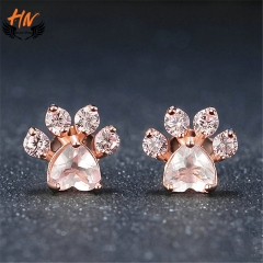 HN Brand 1 Pair/Set New Fashion footprints Earrings For Women Jewellery Gift rose gold as picture