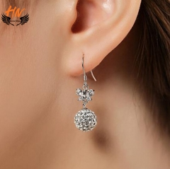 HN Brand 1 Pair/Set New Fashion butterfly spherical  Earrings For Women Jewellery Gift silver as picture