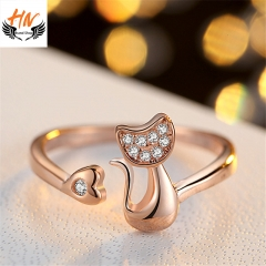 HN Brand 1 Piece/Set New Fashion Lovely Cat Zircon Ring For Women Jewellery Gift rose gold adjustable