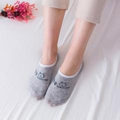 HN Brand 1 Pair New Fashion Cartoon cat silicone anti-skid Socks Cheap Sale Women Silk stockings gray one size