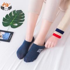 HN Brand 1 Pair New Fashion All cotton cartoon smiling face Socks Cheap Sale Women Silk stockings blue one size