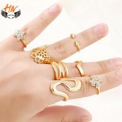 HN Brand 7 piece New Water zircon Hollowed flowers stars diamond Wedding Rings Women Men Jewellery gold one size