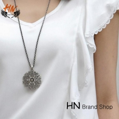 HN Brand1Pcs/Set New Bohemia decorative hollow pattern necklace Pendant Women Jewellery Gift black chain length:68cm