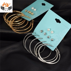 HN Brand 6 Pairs/Set Fashion Punk Crystal Stud Earrings For Women Vintage Jewellery gold one size