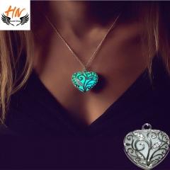 HN Brand-1 Piece/Set New Glowing heart pierced Luminous Alloy Necklaces Pendant Women Jewellery Gift blue chain length:48cm
