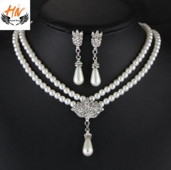 HN Brand 3 piece New Bridal Pearl crystal Drops Necklace pendant stud earring Women Jewellery Gift white one size