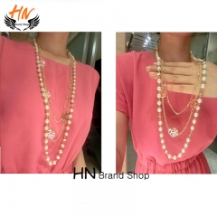 HN Brand 1Pcs/Set New Beautiful Metal Multi layer Pearl Rose sweater chain Long necklaces For Women gold chain length:80cm
